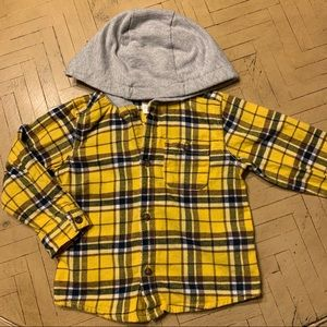 Carter's Hooded Flannel Button Up 24M Grunge